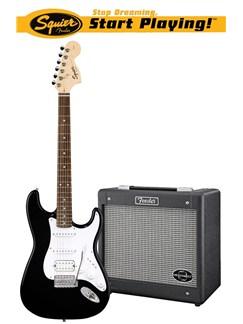 Squier: Affinity Stratocaster HSS/G-DEC Junior Pack - Black Instruments   Electric Guitar