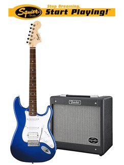Squier: Affinity Stratocaster HSS/G-DEC Junior Pack - Blue Instruments | Electric Guitar