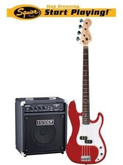 Squier: Affinity P-Bass With Rumble 15 Amplifier (Metallic Red) Instruments | Bass Guitar