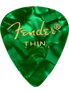 Fender: 351 Shape Guitar Pick Pack - Moto Green Thin (12 Pack)  | Guitar