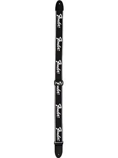 "Fender: Woven ""Running"" Logo Strap - Black/Silver  | Guitar"