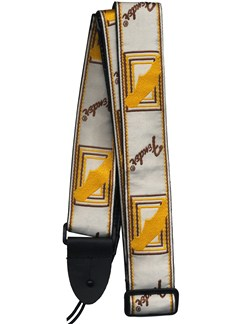 "Fender: 2"" Monogrammed Strap - White/Brown/Yellow  