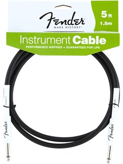 Fender Performance Series Instrument Cable 5'/ 1.5m - Black  | Electric Guitar, Electro-Acoustic Guitar, Electro-Classical Guitar, Semi-Acoustic Guitar, Electro-Acoustic Bass Guitar