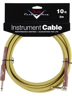 Fender: Custom Shop Performance Series Cable 10'/3m - Angled/Tweed  | Electric Guitar, Electro-Acoustic Guitar, Electro-Classical Guitar, Electro-Acoustic Bass Guitar, Semi-Acoustic Guitar