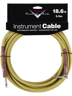 Fender: Custom Shop Performance Series Cable 18.6'/5.5m Angled - Tweed  | Bass Guitar, Electric Guitar, Electro-Acoustic Guitar, Electro-Classical Guitar, Semi-Acoustic Guitar, Electro-Acoustic Bass Guitar
