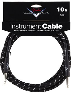Fender: Custom Shop Performance Series Cable 10'/3m - Black Tweed  | Electric Guitar, Electro-Acoustic Bass Guitar, Electro-Acoustic Guitar, Electro-Classical Guitar, Bass Guitar, Semi-Acoustic Guitar