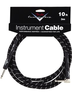 Fender: Custom Shop Performance Series Cable 10'/3m Angled - Black Tweed  | Bass Guitar, Electric Guitar, Electro-Acoustic Guitar, Electro-Classical Guitar, Semi-Acoustic Guitar, Electro-Acoustic Bass Guitar