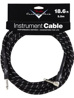 Fender: Custom Shop Performance Series Cable 18.6'/5.5m Angled - Black Tweed  | Bass Guitar, Electric Guitar, Electro-Acoustic Guitar, Electro-Classical Guitar, Semi-Acoustic Guitar, Electro-Acoustic Bass Guitar