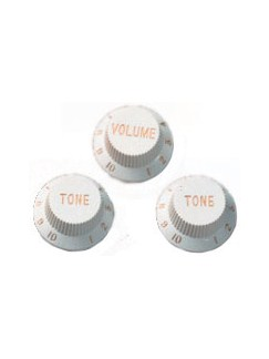 Fender: Stratocaster Original Replacement Knobs - 3x White  | Electric Guitar