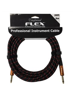 Tanglewood: Flex 6 Metre Braided Guitar Cable - 6mm Thick (Black And Red)  | Guitar