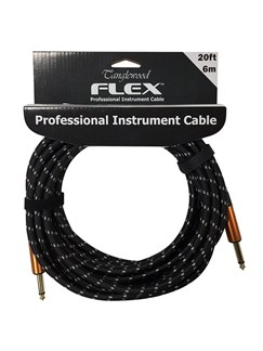 Tanglewood: Flex 6 Metre Braided Guitar Cable - 6mm Thick (Black And White)  | Guitar