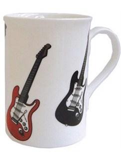 Music Gifts: Red & Black Electric Guitars - Bone China Mug  |