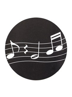 Music Gifts: Black Mug Mats x 2 - Notes On The Stave  |