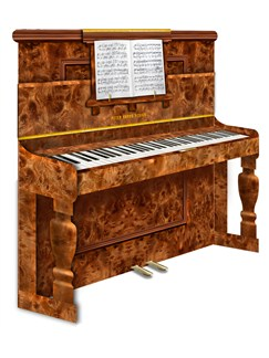3D Greeting Card - Upright Piano  |