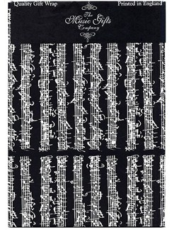 Music Gifts: Gift Wrap Pack - Black Bach  |