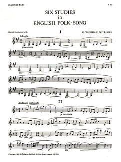 Ralph Vaughan Williams: Six Studies In English Folk-Song (Clarinet) Books | Clarinet