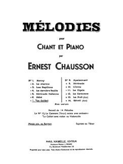 Ernest Chausson: Le Colibri - Edition For Mezzo Soprano And Baritone Books | Mezzo-Soprano/Baritone Voice/Piano Accompaniment