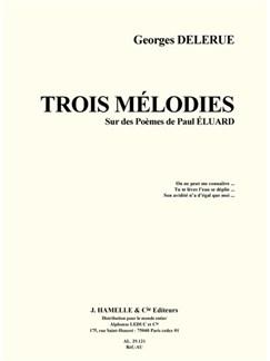Delerue: Trois mélodies sur des poemes de paul eluard voix moyenne et piano Books | Piano & Vocal
