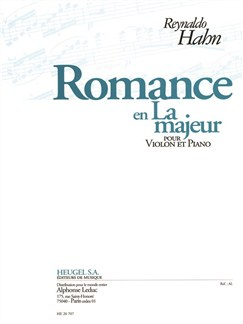 Reynaldo Hahn: Romance In A (Violin/Piano) Books | Violin, Piano Accompaniment