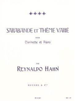 Reynaldo Hahn: Sarabande Et Thème Varié (Clarinet/Piano) Livre | Clarinette