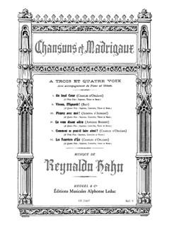 Reynaldo Hahn: Chansons Et Madrigaux Pour Trois Et Quatre Voix Chœur Livre | Chorale, Accompagnement Piano