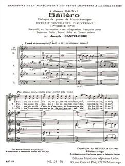 Joseph Canteloube: Baïlèro Buch | Sopran, Tenor, SATB (Gemischter Chor), Chor