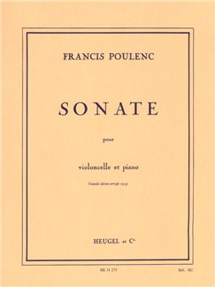 Francis Poulenc: Sonata For Cello And Piano Books | Cello, Piano Accompaniment