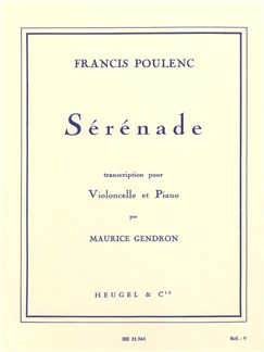 Francis Poulenc: Sérénade (Cello/Piano) (Gendron) Books | Cello, Piano Accompaniment