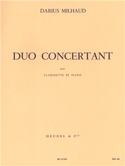 Darius Milhaud: Duo Concertant Op.351 For Clarinet And Piano Books | Clarinet, Piano Accompaniment