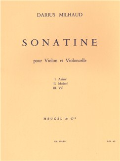 Darius Milhaud: Sonatine For Violin And Cello Op.324 Books | Violin, Cello