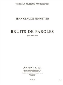 Jean-Claude Pennetier: Bruits De Paroles Books | SATB