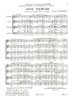 Pierre Villette: Ave Verum, Op.3 Books | SATB