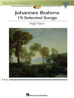 Johannes Brahms: 15 Selected Songs - High Voice (Book & CD) Books and CDs | High Voice, Piano Accompaniment