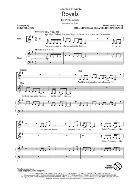 Pop Choral Series: Lorde - Royals - Choral Sheet Music - Sheet Music ...