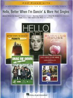 Pop Piano Hits: Hello, Better When I'm Dancin' & More Hot Singles Livre | Piano, Chant et Guitare