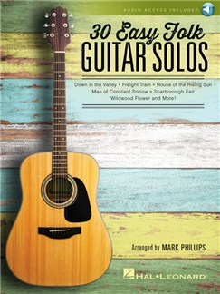 30 Easy Folk Guitar Solos (Book/Online Audio) Audio Digitale et Livre | Guitare