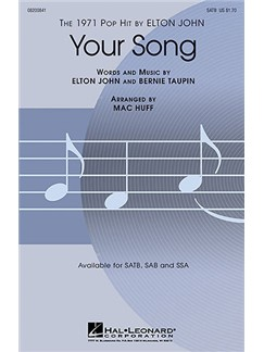 Elton John: Your Song (SATB) Livre | SATB, Accompagnement Piano