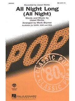 Lionel Richie: All Night Long (SAB) Books | SAB, Piano Accompaniment