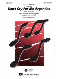 Andrew Lloyd Webber: Don't Cry For Me Argentina (Evita) - SSA Books | SSA, Piano Accompaniment