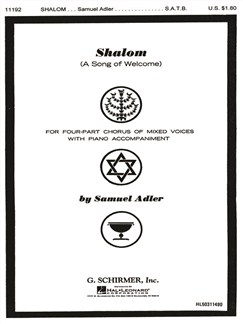 Samuel Adler: Shalom (A Song Of Welcome) Books | Choral, SATB, Piano Accompaniment