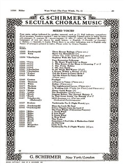 Lewis M. Miller: West Wind (From 'The Four Winds') Books   Choral, SATB