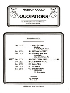 Morton Gould: The Early Bird (From 'Quotations') Books | Choral, SATB, Piano Accompaniment