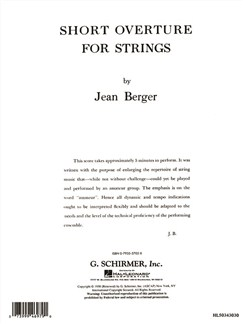 Jean Berger: Short Overture For Strings Books | String Ensemble