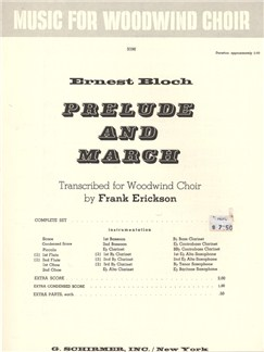 Ernest Bloch: Prelude And March - Full Score Books | Wind Ensemble
