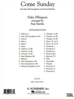 Duke Ellington: Come Sunday (Arr. Paul Murtha) Books | Alto Saxophone, Big Band & Concert Band