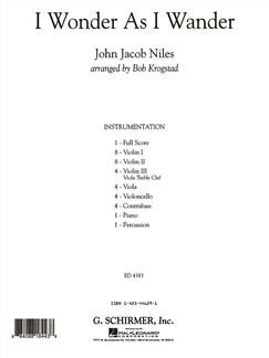 John Jacob Niles: I Wonder As I Wander (Arr. Bob Krogstad) - Full Score Books | Big Band & Concert Band
