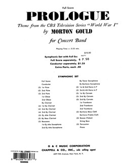 Morton Gould: Prologue (From CBS TV Production World War I) - Full Score Books | Big Band & Concert Band