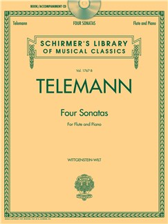 G.P. Telemann: Four Sonatas For Flute And Piano (Book/CD) Books and CDs | Flute, Piano Accompaniment