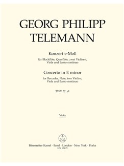 G. P. Telemann: Concerto For Recorder And Flute In E Minor (Viola) Books | Flute, Orchestra, Recorder