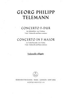 G. P. Telemann: Concerto For Treble Recorder In F (Cello) Books | Orchestra, Recorder